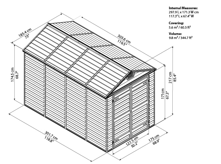 Skylight Storage Sheds 6x10 bird's eye view
