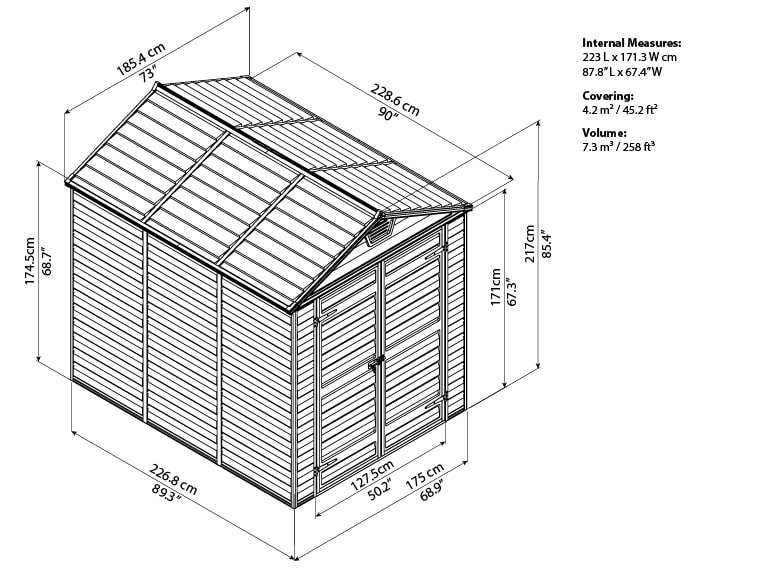 Skylight Storage Sheds 6x8 bird's eye view
