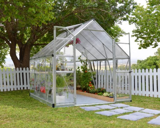 Silver frame greenhouse 8x8'